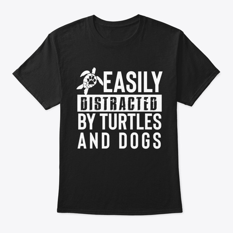 Turtle And Dog Black T-Shirt Front
