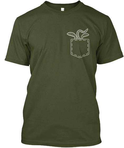 Worms In The Pocket Military Green T-Shirt Front