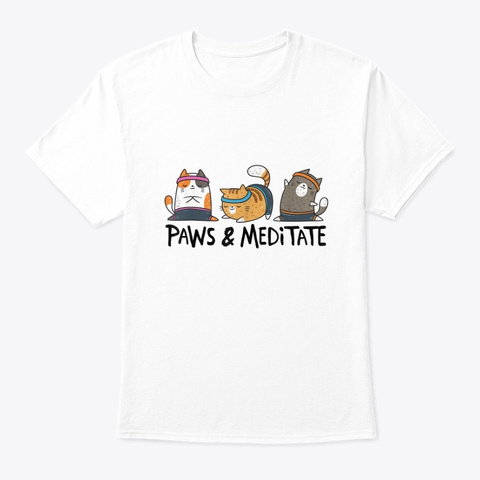 Yoga Cat Paws And Meditate Yoga Position White T-Shirt Front