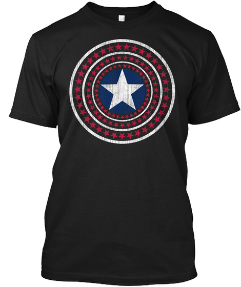 4th Of July Stars Independence Day Black T-Shirt Front