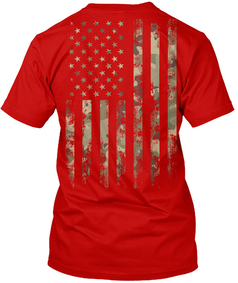 Red Friday In Camo Design T Shirt! Classic Red T-Shirt Back
