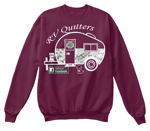 Rv Quilters Find Us On Facebook Maroon  Kaos Front