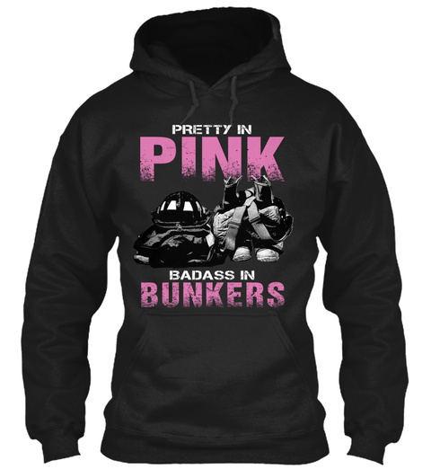 Pretty In Pink Badass In Bunkers  Black T-Shirt Front