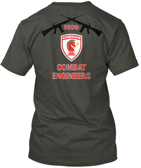 560th Combat Engineers Smoke Gray T-Shirt Back