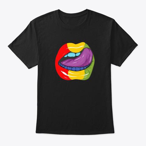 Gay Pride Flag Lgbt Ally Retro Lips Gift Black T-Shirt Front