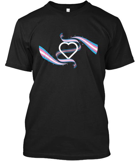 Heart Banners Transgender Black T-Shirt Front