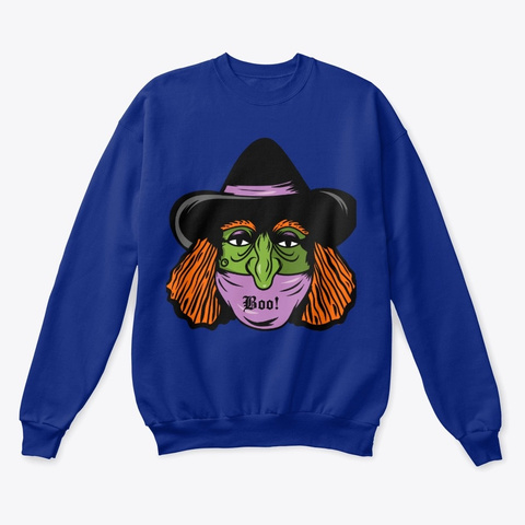 Simple Masked Witch Halloween Costume Deep Royal  T-Shirt Front