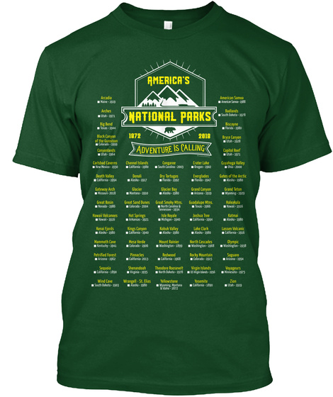 Mark Your Parks   60 National Parks 2018 Deep Forest T-Shirt Front