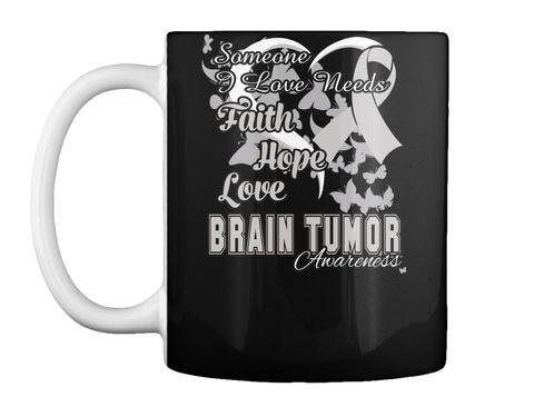Brain Tumor Awareness Ribbon Mug Black T-Shirt Front