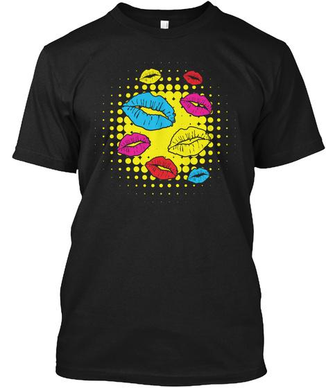Pop Art Shirt Lips Graphic Art Gift Tee Black T-Shirt Front