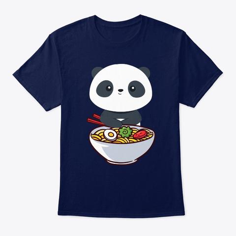 Kawaii Anime Japanese Ramen Noodles Pand Navy T-Shirt Front
