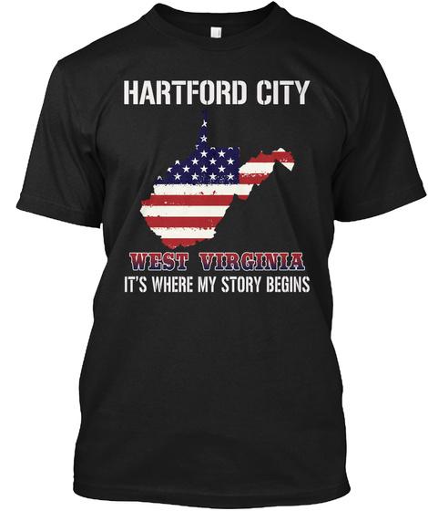 Hartford City Wv   Story Begins Black T-Shirt Front