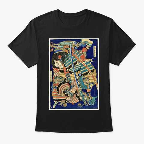 Samurais Fight   Japan Art Black T-Shirt Front
