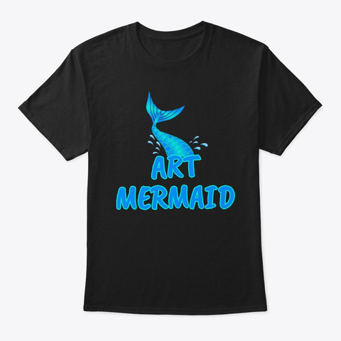 Art Mermaid Black T-Shirt Front