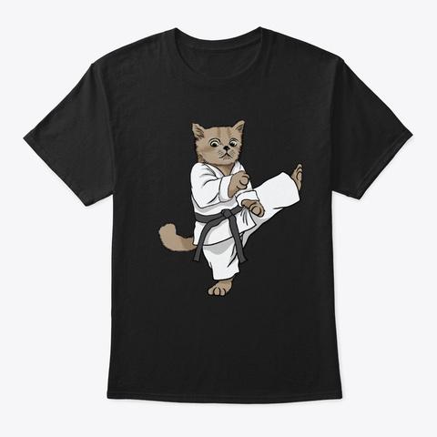 Cat Martial Art Kick  Black T-Shirt Front