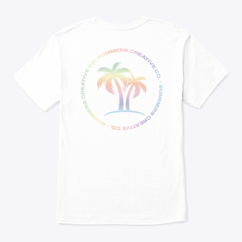 Pastel Palm Tree Crest Tee White T-Shirt Back