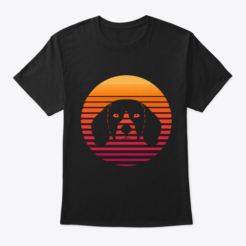 Dog Beagle  Face On Sun Funny Puppy Love Black T-Shirt Front