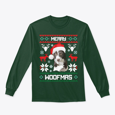 Border Collie Gift For Merry Christmas  Forest Green T-Shirt Front