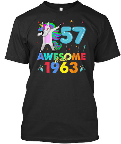 Awesome Since 1963 Unicorn Dabbing Funny Black T-Shirt Front