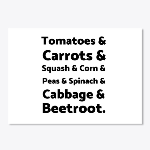 List Of Vegetables White T-Shirt Front