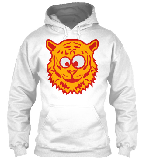 Tiger Funny Animal Cartoon Face 2 White T-Shirt Front