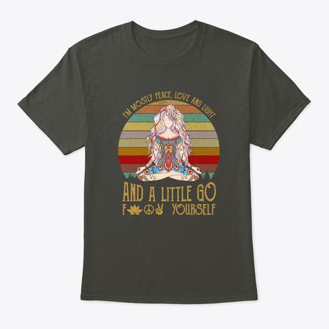 Yoga I'm Mostly Peace Love Light Smoke Gray T-Shirt Front