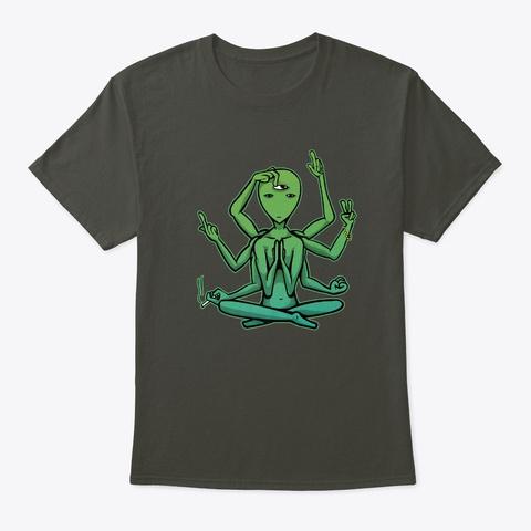 Alien Hipster Yoga Namaste Smoke Gray T-Shirt Front