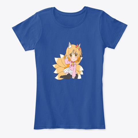 Nine Tail Chibi Anime Girl Tsundere Deep Royal  T-Shirt Front