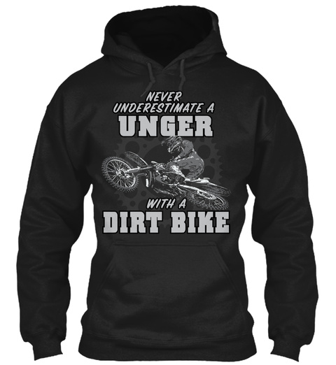 Unger With A Dirt Bike Black T-Shirt Front