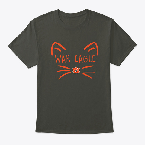 Auburn Tigers Cat Face Team Apparel Smoke Gray T-Shirt Front