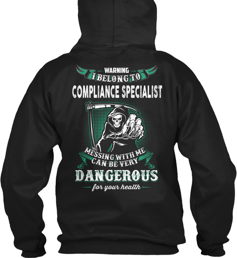 Compliance Specialist Black T-Shirt Back