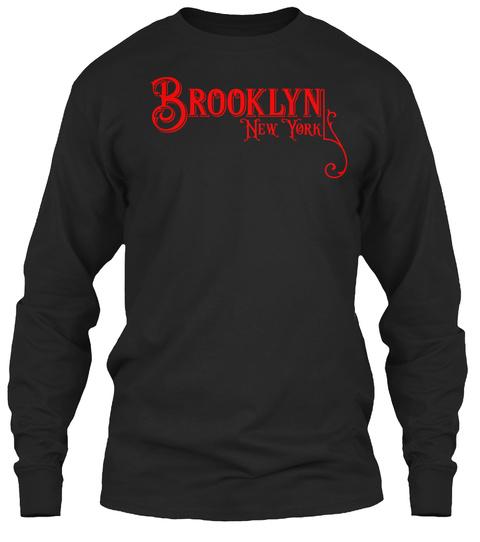 Brooklyn New York City Vintage Type Black Long Sleeve T-Shirt Front