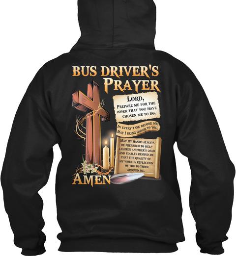 Bus Driver's Prayer Lord Amen Black T-Shirt Back