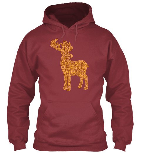 Deer Art Maroon T-Shirt Front