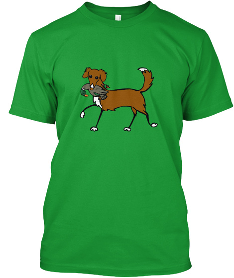 Cartoon Toller Designed By Ann Priddy Kelly Green T-Shirt Front