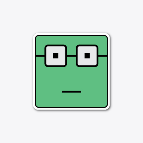 Nerdy Green Square (Sticker) Standard T-Shirt Front