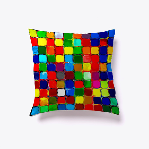 Color Tiles Pillow White Kaos Front