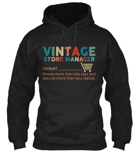 Vintage Store Manager Black T-Shirt Front