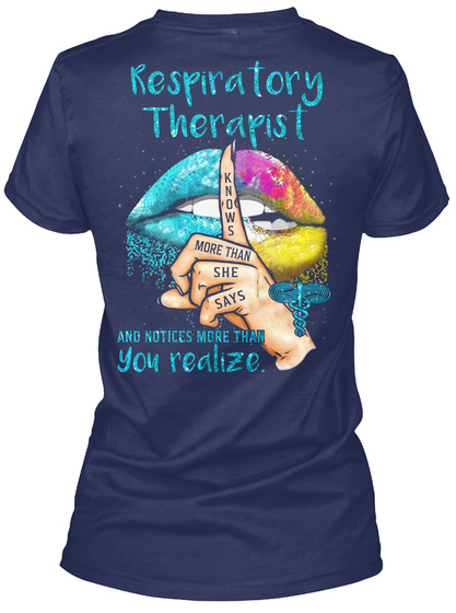 Awesome Respiratory Therapist Navy T-Shirt Back