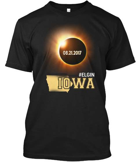 Eclipse Elgin Ia. Customizable City Black T-Shirt Front