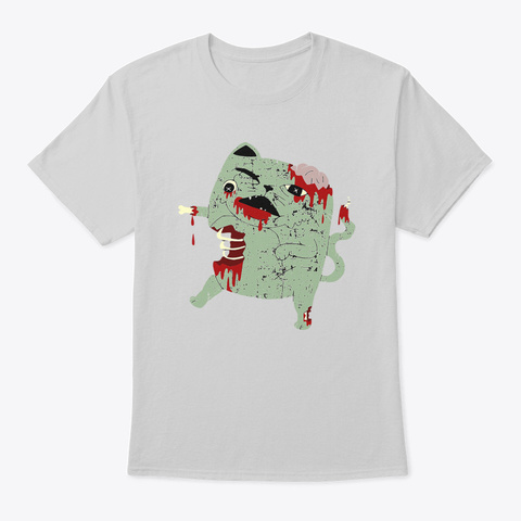 Zombie Cat Scary Creepy Art Cartoon Light Steel T-Shirt Front