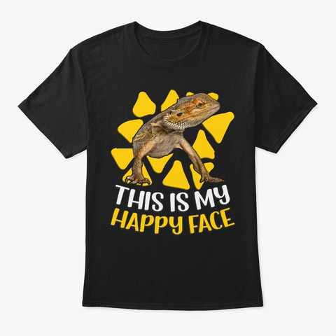 Happy Face Of Bearded Dragon Black T-Shirt Front