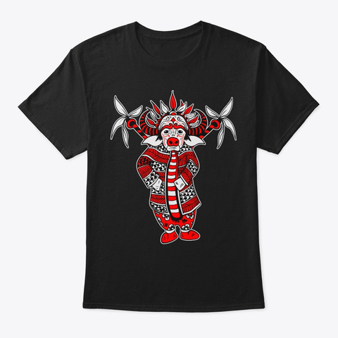 Ox Lunar New Year Chinese Opera Zodiac Black T-Shirt Front