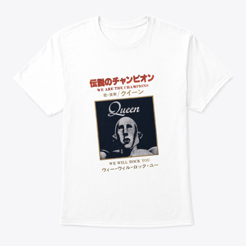 Queen Official We Are The Champion Japan White T-Shirt Front