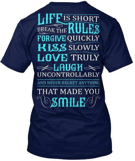 Life Is Short Navy T-Shirt Back