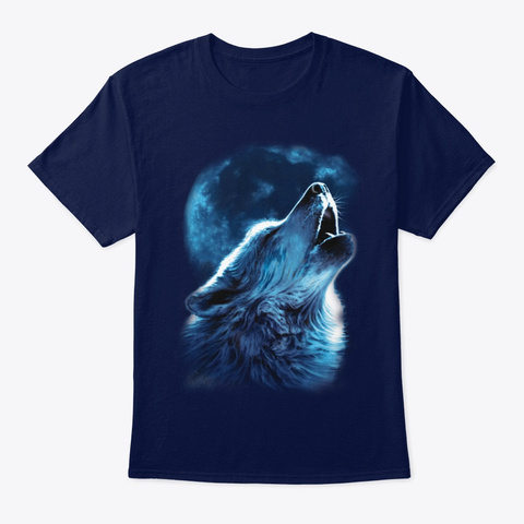 Printed,Art,Wolf,Painting Navy T-Shirt Front