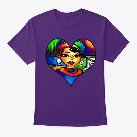 Queen Laveau Heart Purple T-Shirt Front