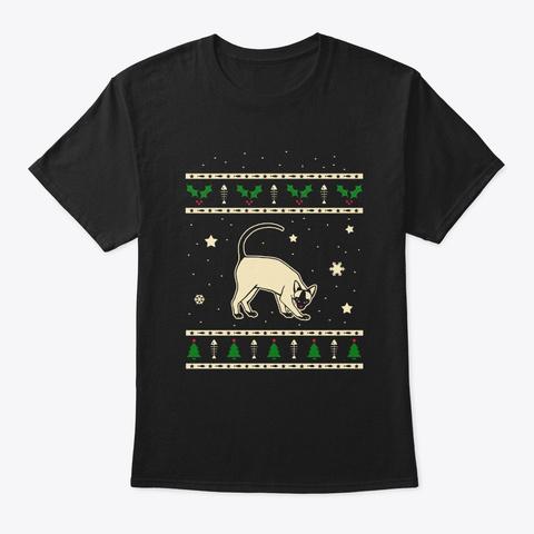 Christmas Modern Siamese Gift Black T-Shirt Front