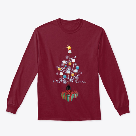 Wine Christmas Tree For Wine Lover Gift Cardinal Red T-Shirt Front