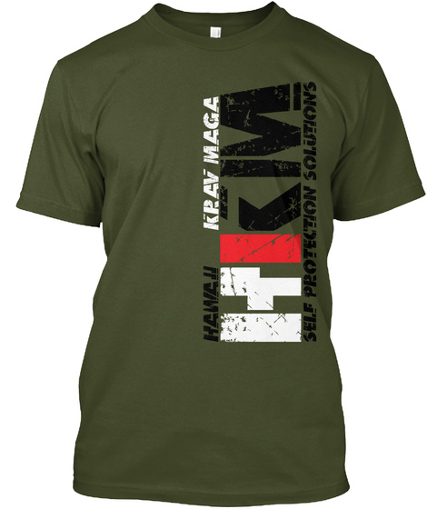 Hkm Krav Maga Hawah Self Protection Solutions Military Green T-Shirt Front